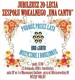 """Jubileusz 20-lecia Zespołu Wokalnego """"Una Canto"""""""